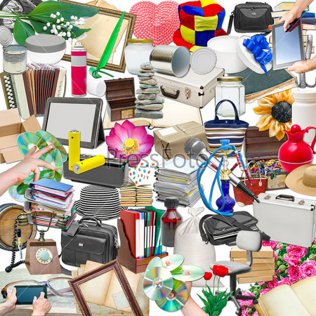 Фотография на тему Простой коллаж из изолированных объектов на белом фоне