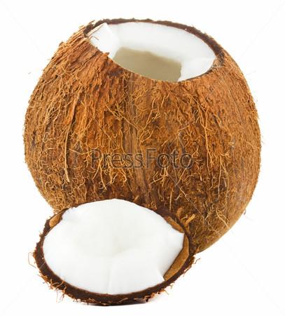 Фотография на тему Расколотый кокос на белом фоне