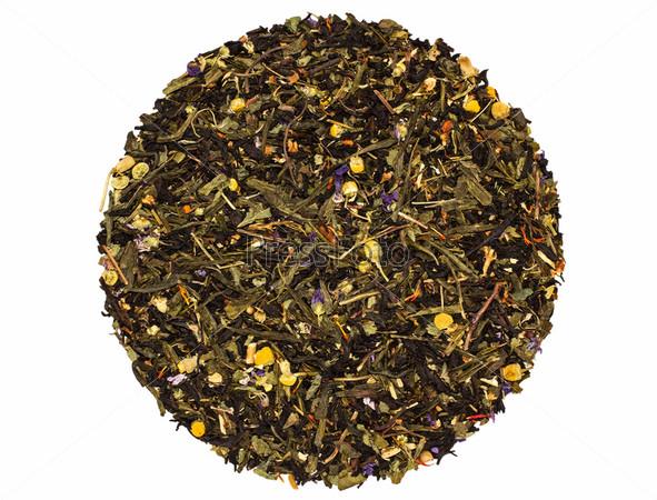 Травяной черно-зеленый фруктовый чай