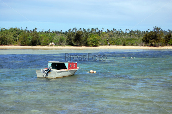 Моторная лодка вблизи песчаного побережья с пальмами