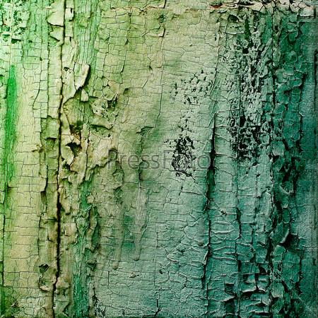 Старые деревянные доски, окрашенные зеленой краской