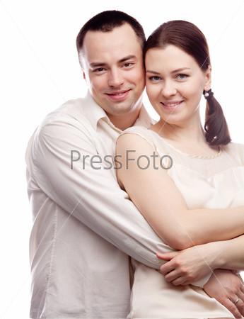 Фотография на тему Портрет счастливой пары, изолированный на белом фоне
