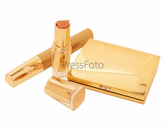 Золотая коллекция макияжа, изолировано
