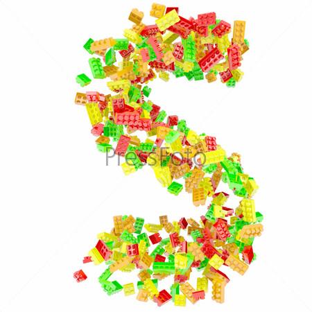 Буква S из детских кубиков