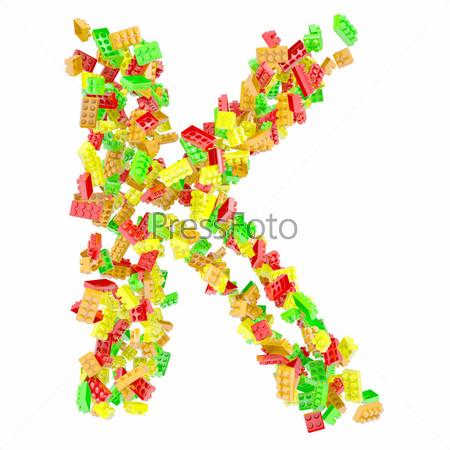 Буква K из детских кубиков
