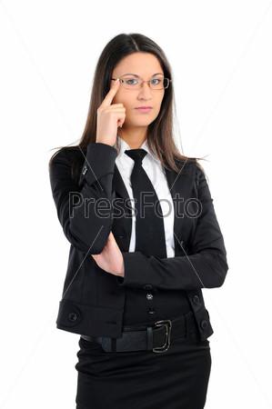 Портрет деловой женщины в очках на белом фоне