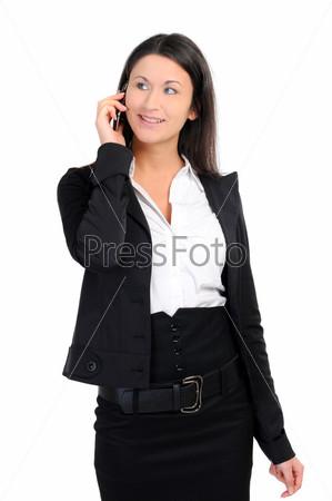 Портрет деловой женщины с телефоном на белом фоне