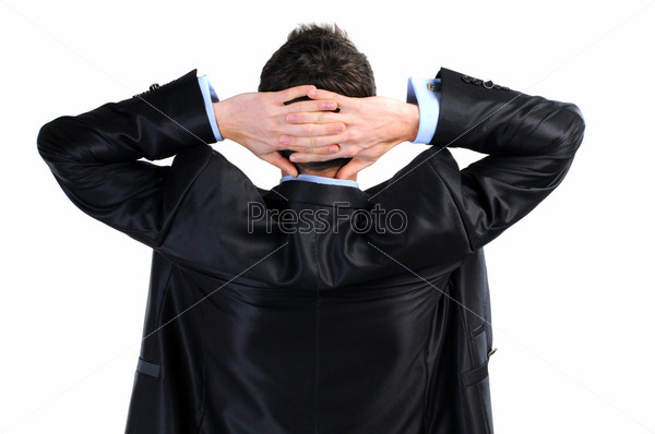 Фотография на тему Бизнесмен с руками за головой
