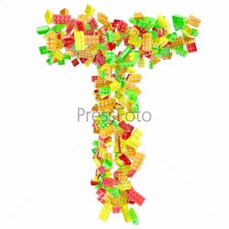 Буква T из детских кубиков