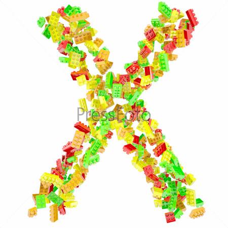 Буква X из детских кубиков