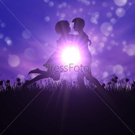Силуэт пары на траве