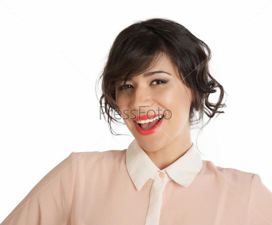 Фотография на тему Красивая смеющаяся женщина с ярко-красными губами