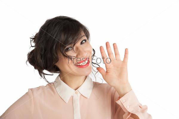 """Счастливая женщина машет """"до свидания"""""""