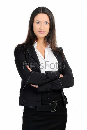 Портрет бизнес-леди на белом фоне