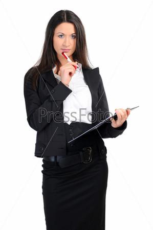 Портрет деловой женщины с документами на белом фоне