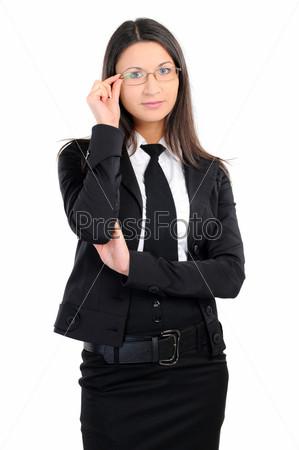 Фотография на тему Портрет деловой женщины в очках на белом фоне