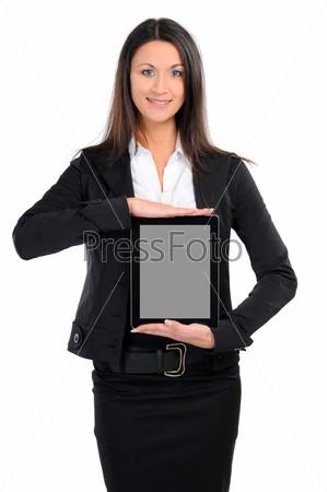 Фотография на тему Бизнес-леди с планшетныйм компьютером на белом фоне