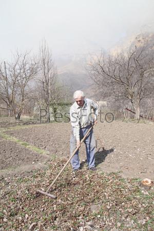 Пожилой мужчина убирает сухие листья в саду