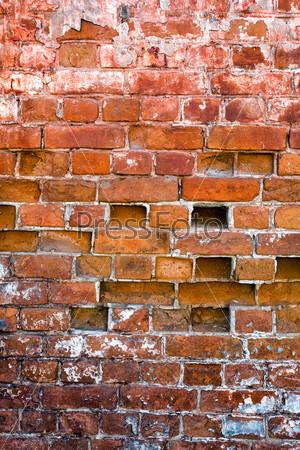Фотография на тему Старая красная кирпичная стена как фон