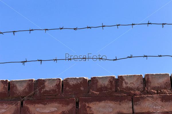 Фотография на тему Ограждение из колючей проволоки на фоне голубого неба