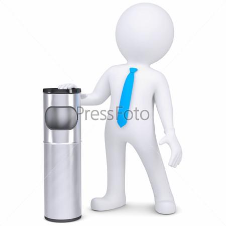 3D белый человек с мусорным ведром