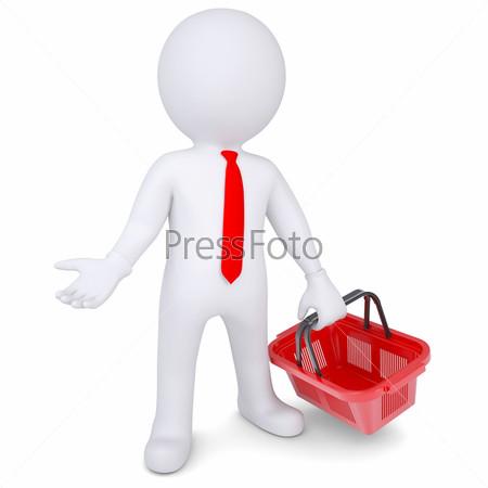 3D белый человек с корзиной для покупок