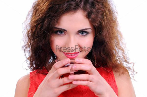 Фотография на тему Женщина с кофе, изолированная на белом фоне