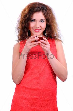 Женщина с кофе, изолированная на белом фоне