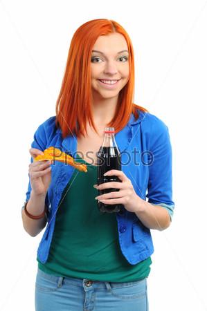 Фотография на тему Веселая женщина ест кусок пиццы