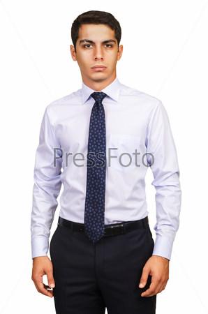 Мужчина-модель в рубашке, изолированный на белом