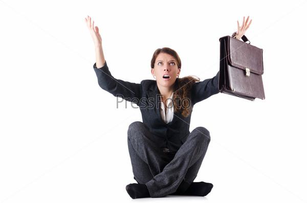 Обанкротившаяся деловая женщина, изолированная на белом фоне