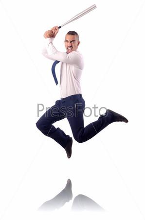 Прыгающий бизнесмен с бейсбольной битой