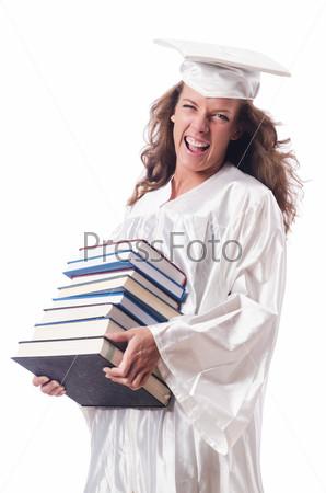 Выпускник с книгой, изолированный на белом