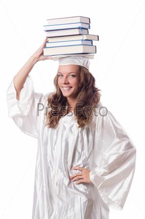 Фотография на тему Выпускник с книгой, изолированный на белом