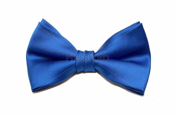 Фотография на тему Синий галстук-бабочка, изолированный на белом фоне