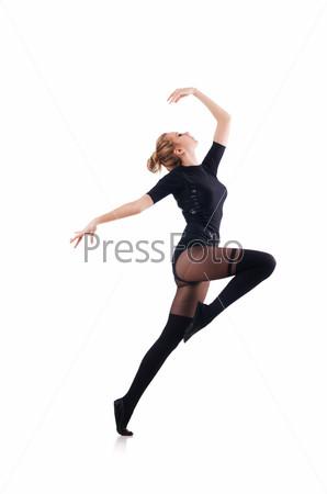 Фотография на тему Молодая женщина танцует на белом фоне