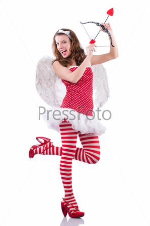 Ангел в красной одежде на белом фоне