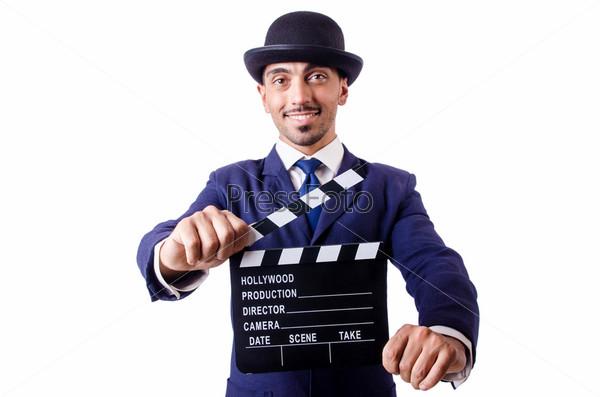 Мужчина с кино-хлопушкой, изолированный на белом