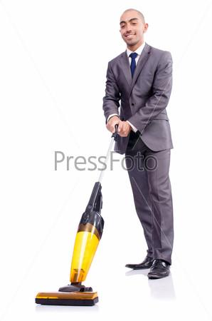 Фотография на тему Бизнесмен с пылесосом на белом фоне