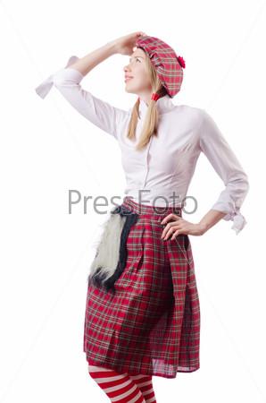 Фотография на тему Концепция шотландских традиций с женщиной в килте