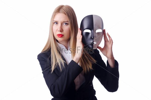 Женщина с маской в концепции лицемерия