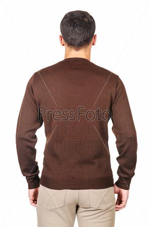 Мужской свитер, изолированный на белом фоне