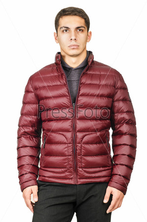 Фотография на тему Мужская куртка, изолированная на белом фоне