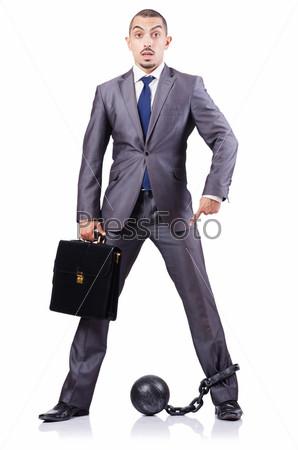 Фотография на тему Бизнесмен с кандалами на белом фоне