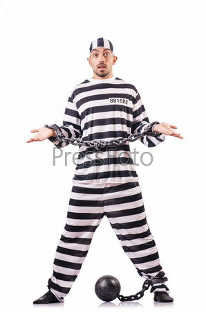 Фотография на тему Осужденный преступник в полосатой форме