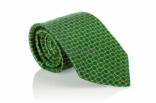 Фотография на тему Элегантный шелковый галстук на белом фоне