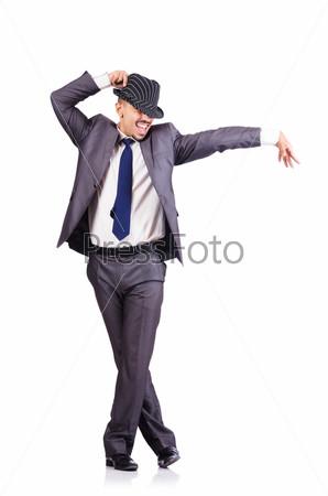 Танцующий бизнесмен, изолированный на белом