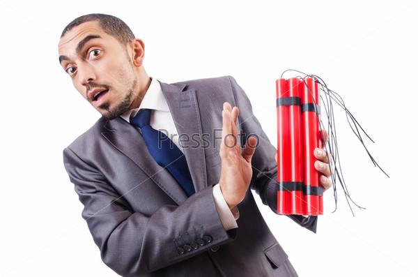 Фотография на тему Бизнесмен с динамитом, изолированный на белом фоне