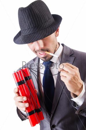 Бизнесмен с динамитом, изолированный на белом