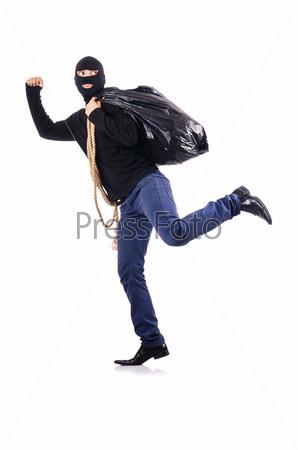 Грабитель в маске, изолированный на белом оне